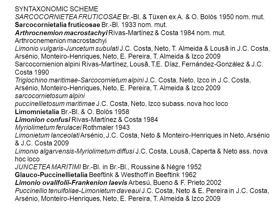 SYNTAXONOMIC SCHEME SARCOCORNIETEA FRUTICOSAE Br.-Bl. & Tüxen ex A. & O. Bolòs 1950 nom. mut. Sarcocornietalia fruticosae Br.-Bl. 1933 nom. mut. Arthr