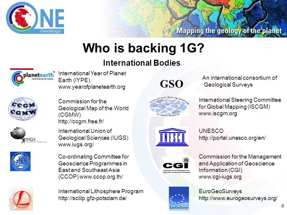 6 Who is backing 1G? International Year of Planet Earth (IYPE) www.yearofplanetearth.org Commission for the Geological Map of the World (CGMW) http://