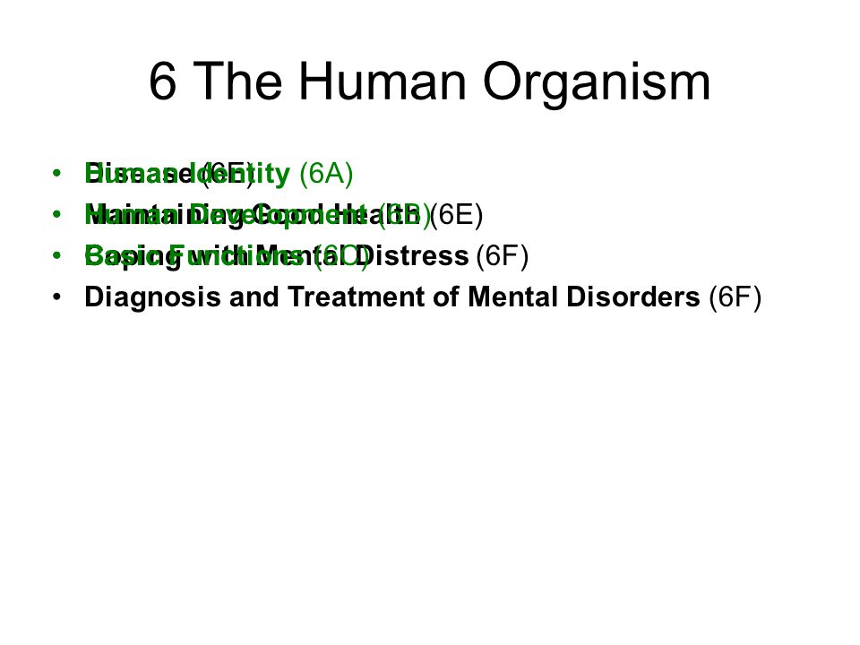 Disease (6E) Maintaining Good Health (6E) Coping with Mental Distress (6F) Diagnosis and Treatment of Mental Disorders (6F) 6 The Human Organism Human Identity (6A) Human Development (6B) Basic Functions (6C)