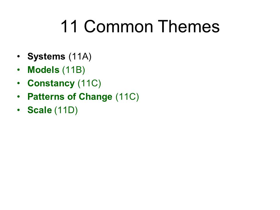 11 Common Themes Systems (11A) Models (11B) Constancy (11C) Patterns of Change (11C) Scale (11D)