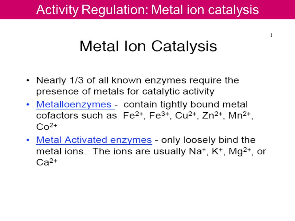 Activity Regulation: Metal ion catalysis