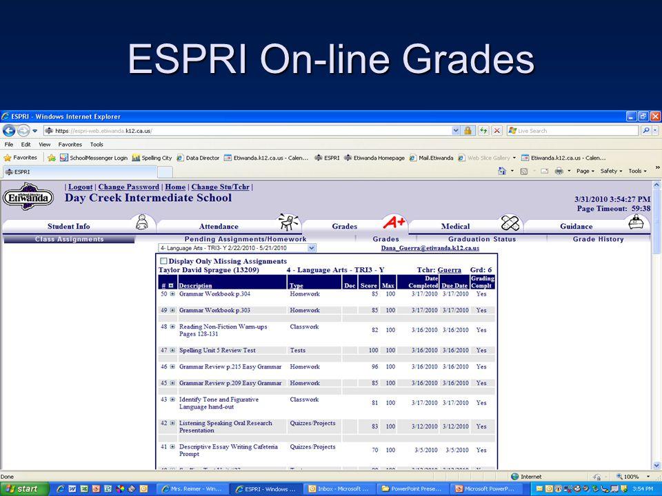 ESPRI On-line Grades