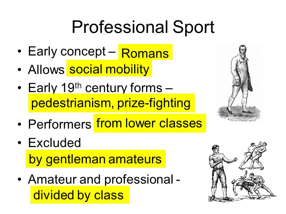Professional Sport Early concept – Allows Early 19 th century forms – Performers Excluded Amateur and professional - Romans social mobility pedestrianism, prize-fighting from lower classes by gentleman amateurs divided by class