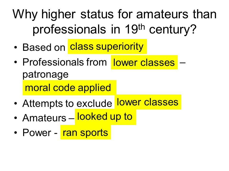 Why higher status for amateurs than professionals in 19 th century.