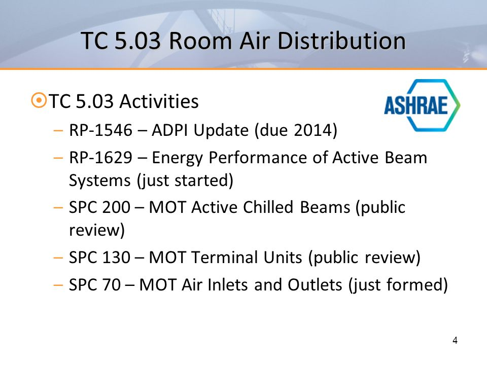TC 5.03 Room Air Distribution  Join TC 5.03 – a large and active committee –Chapters in (3) ASHRAE Handbooks Fundamentals Applications Systems and Equipment –Subcommittees Room Fan Coils Chilled Beams Underfloor Air Distribution Air Curtains 5