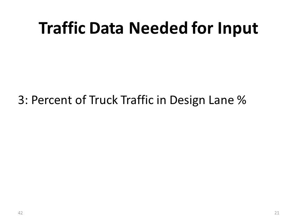 Traffic Data Needed for Input 3: Percent of Truck Traffic in Design Lane % 4221