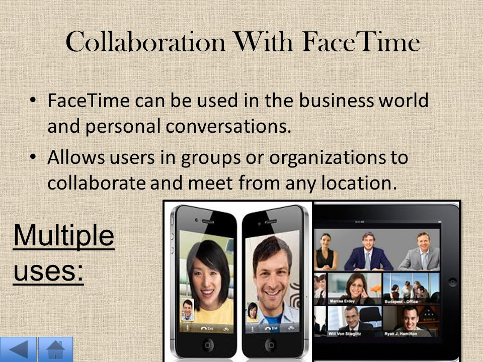 How FaceTime Works: Mobile Devices Mobile devices allow users to connect, call and message other people from any location. They can connect to wireles