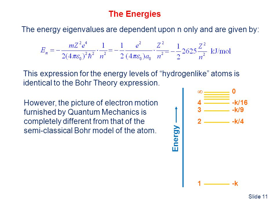 "Slide 11 The Energies The energy eigenvalues are dependent upon n only and are given by: This expression for the energy levels of ""hydrogenlike"" atoms"