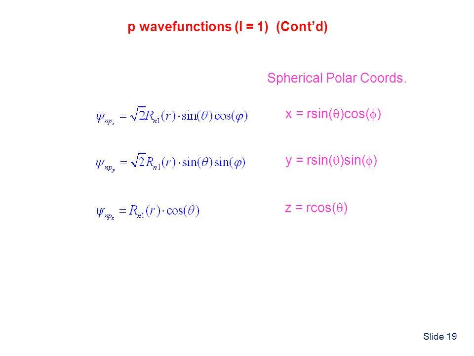 Slide 19 p wavefunctions (l = 1) (Cont'd) Spherical Polar Coords.