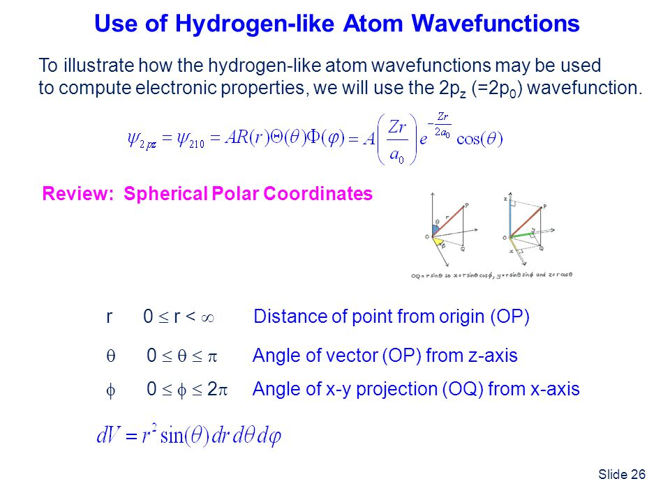 Slide 26 Use of Hydrogen-like Atom Wavefunctions To illustrate how the hydrogen-like atom wavefunctions may be used to compute electronic properties,