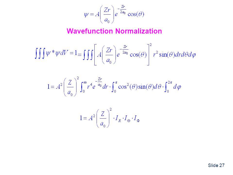 Slide 27 Wavefunction Normalization