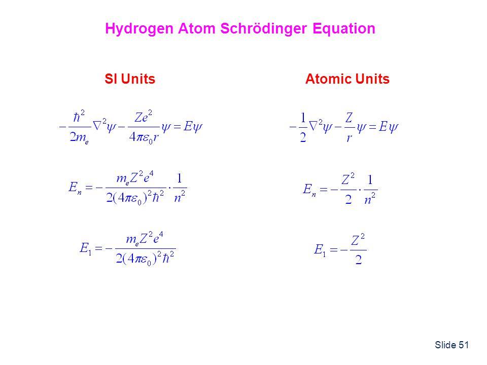 Slide 51 Hydrogen Atom Schrödinger Equation SI UnitsAtomic Units
