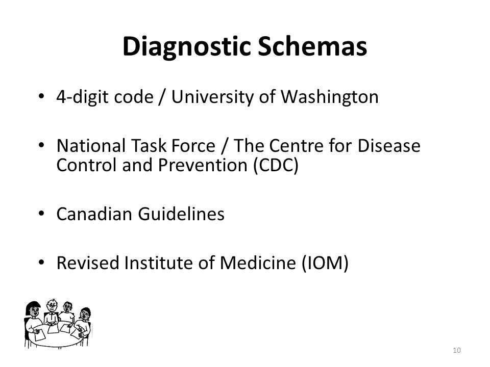 Diagnostic Schemas 4-digit code / University of Washington National Task Force / The Centre for Disease Control and Prevention (CDC) Canadian Guidelin