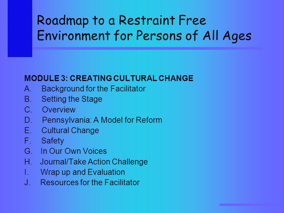 Roadmap to a Restraint Free Environment for Persons of All Ages MODULE 3: CREATING CULTURAL CHANGE A.