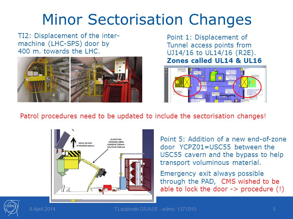 Minor Sectorisation Changes 8 April 2014T.Ladzinski GS/ASE - edms: 13719105 Point 1: Displacement of Tunnel access points from UJ14/16 to UL14/16 (R2E).