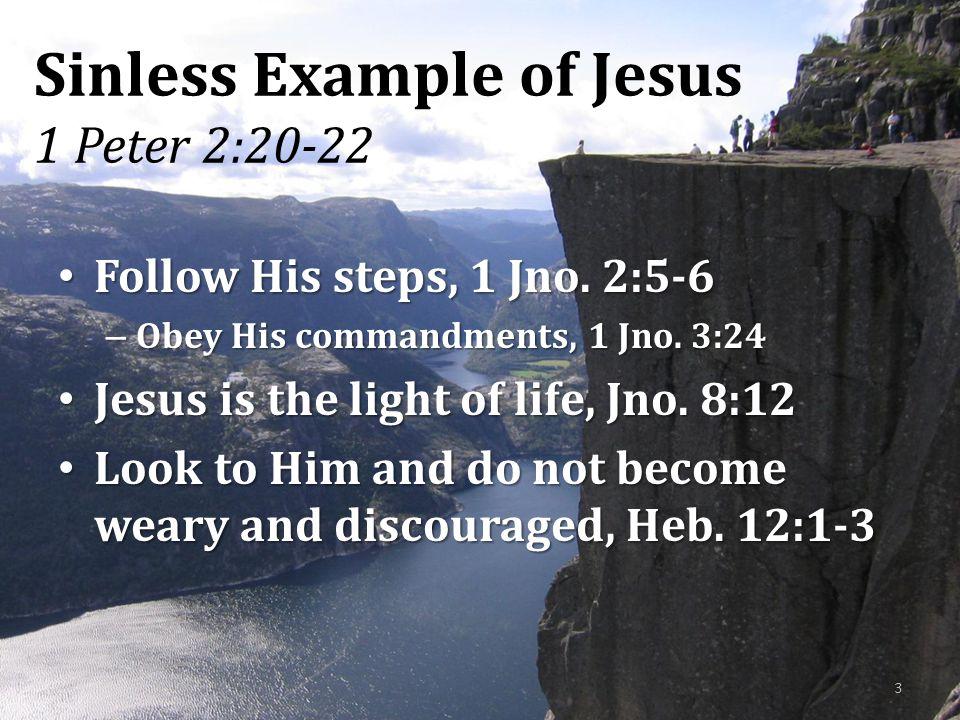 Sinless Example of Jesus 1 Peter 2:20-22 Follow His steps, 1 Jno. 2:5-6 Follow His steps, 1 Jno. 2:5-6 – Obey His commandments, 1 Jno. 3:24 Jesus is t