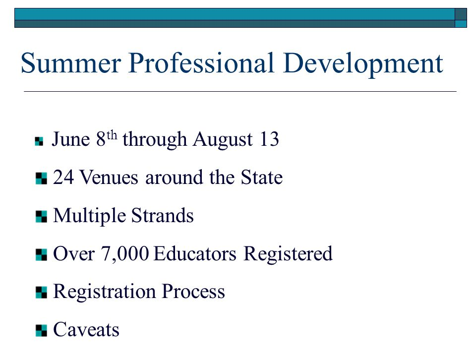 Summer Professional Development June 8 th through August 13 24 Venues around the State Multiple Strands Over 7,000 Educators Registered Registration Process Caveats
