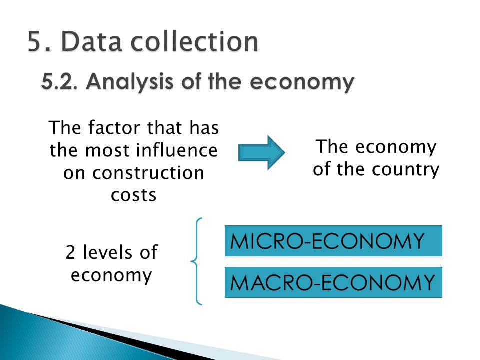 MICRO-ECONOMY The factor that has the most influence on construction costs The economy of the country MACRO-ECONOMY 2 levels of economy