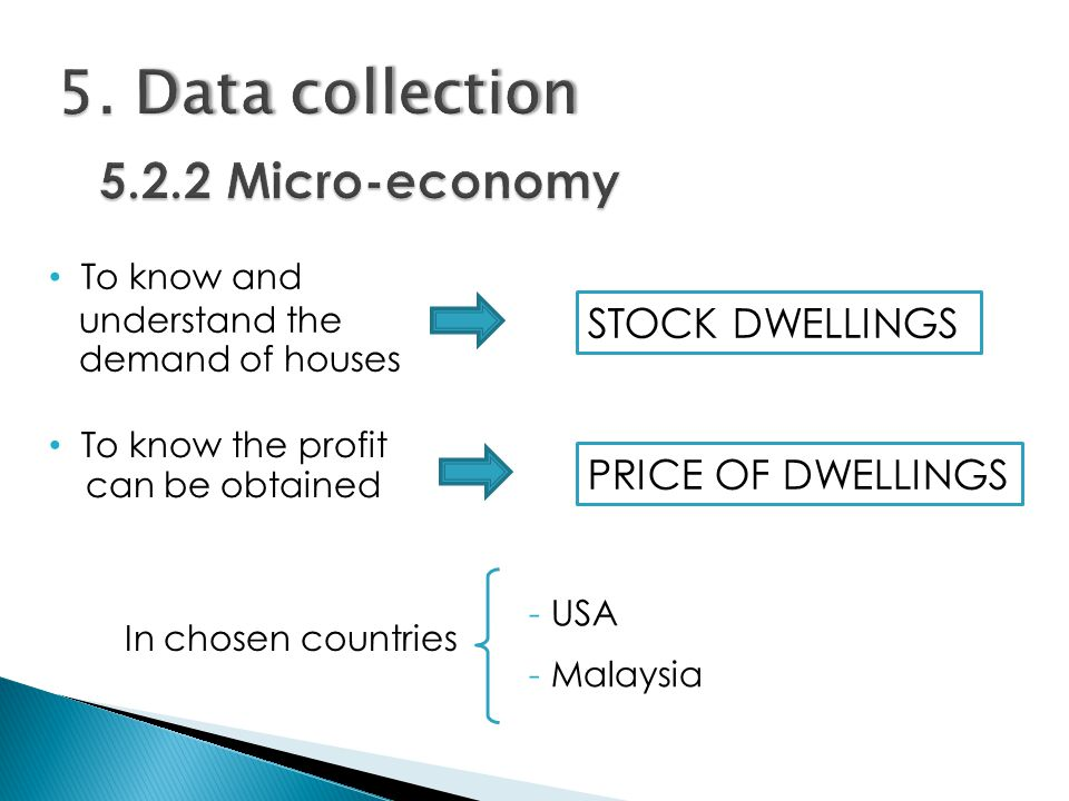 STOCK DWELLINGS To know and...understand the...demand of houses PRICE OF DWELLINGS To know the profit …can be obtained In chosen countries - USA - Malaysia