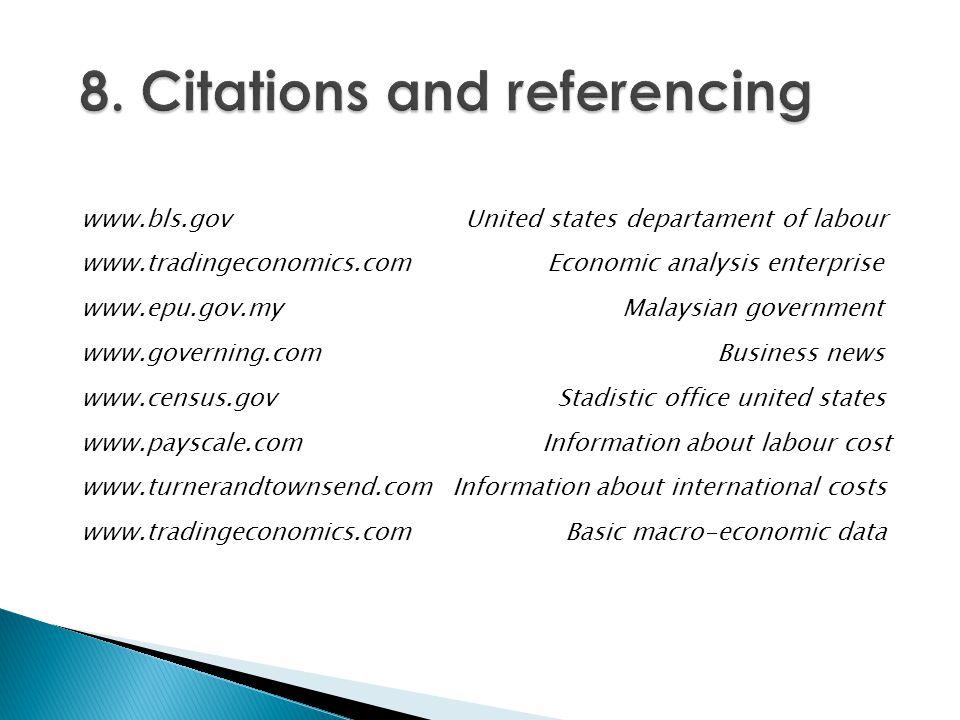 www.bls.gov United states departament of labour www.tradingeconomics.com Economic analysis enterprise www.epu.gov.my Malaysian government www.governin