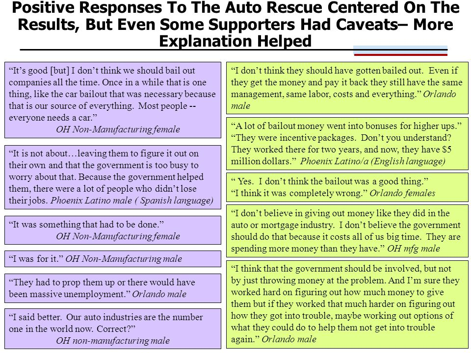 28 Positive Responses To The Auto Rescue Centered On The Results, But Even Some Supporters Had Caveats– More Explanation Helped I don't believe in giving out money like they did in the auto or mortgage industry.