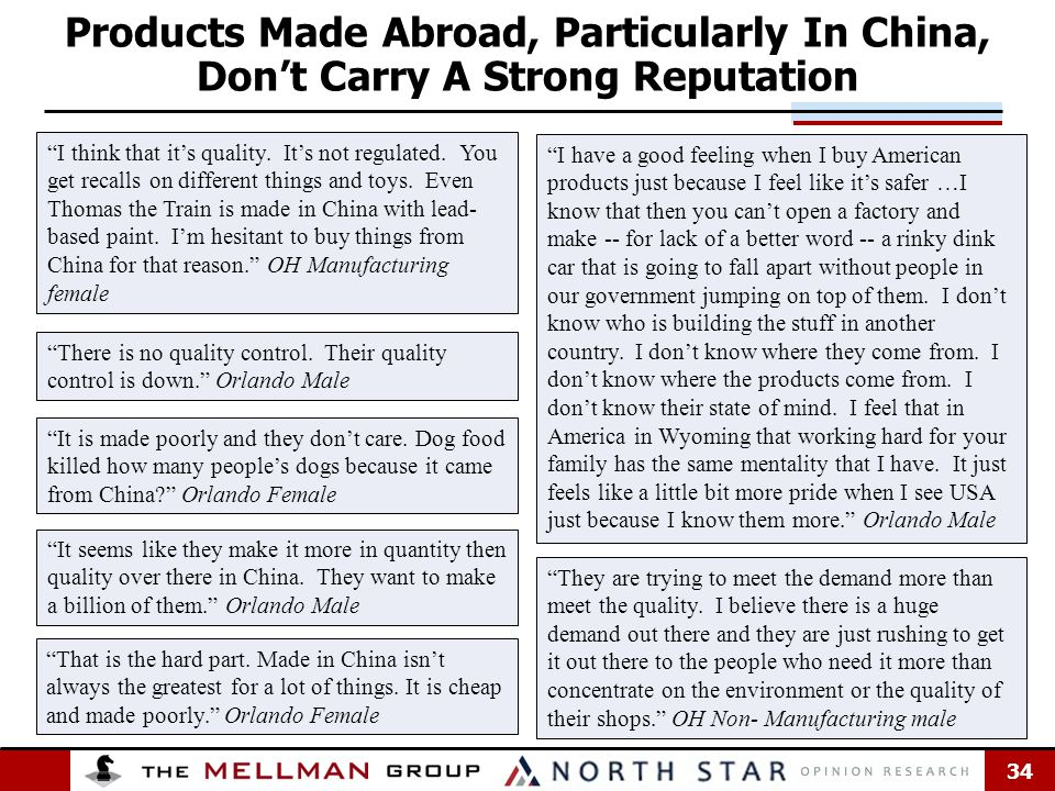 34 Products Made Abroad, Particularly In China, Don't Carry A Strong Reputation There is no quality control.