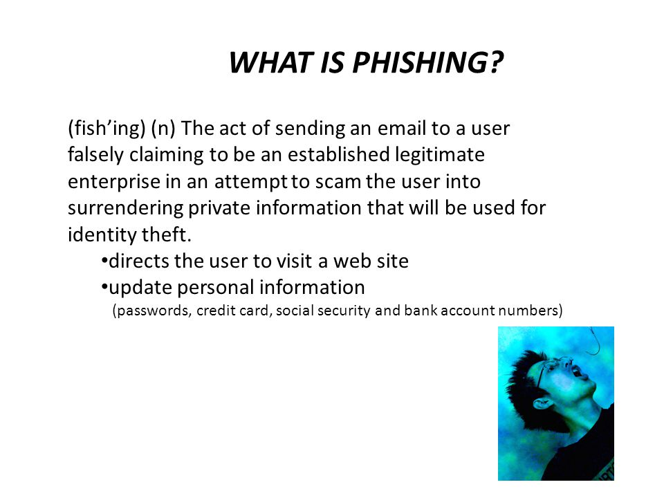 PHISHING TECHNIQUES Official looking and sounding emails Copies legitimate corporate emails with minor URL changes Standard virus/worm attachments to emails IP addresses instead of domain names in hyperlinks Setting up fake web sites that closely mimic the domain name of the target website.