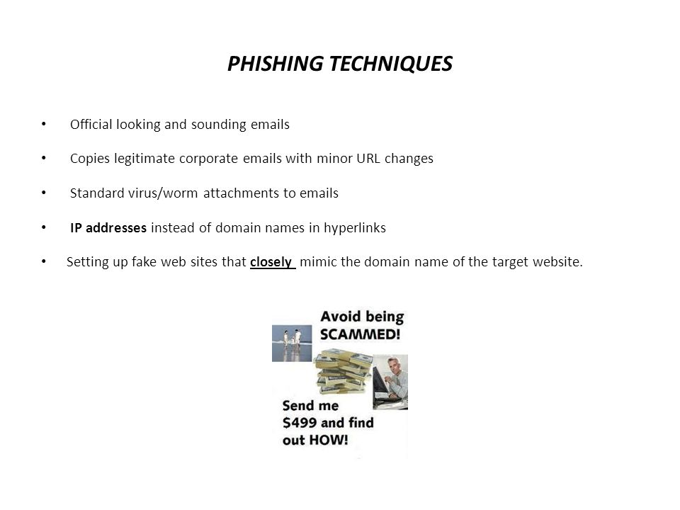 Other Phishing Scams The Nigerian Scam: Costly Compassion  1997-Secret Service confirmed losses just in the US of over 100 million dollars in 15 months Help.