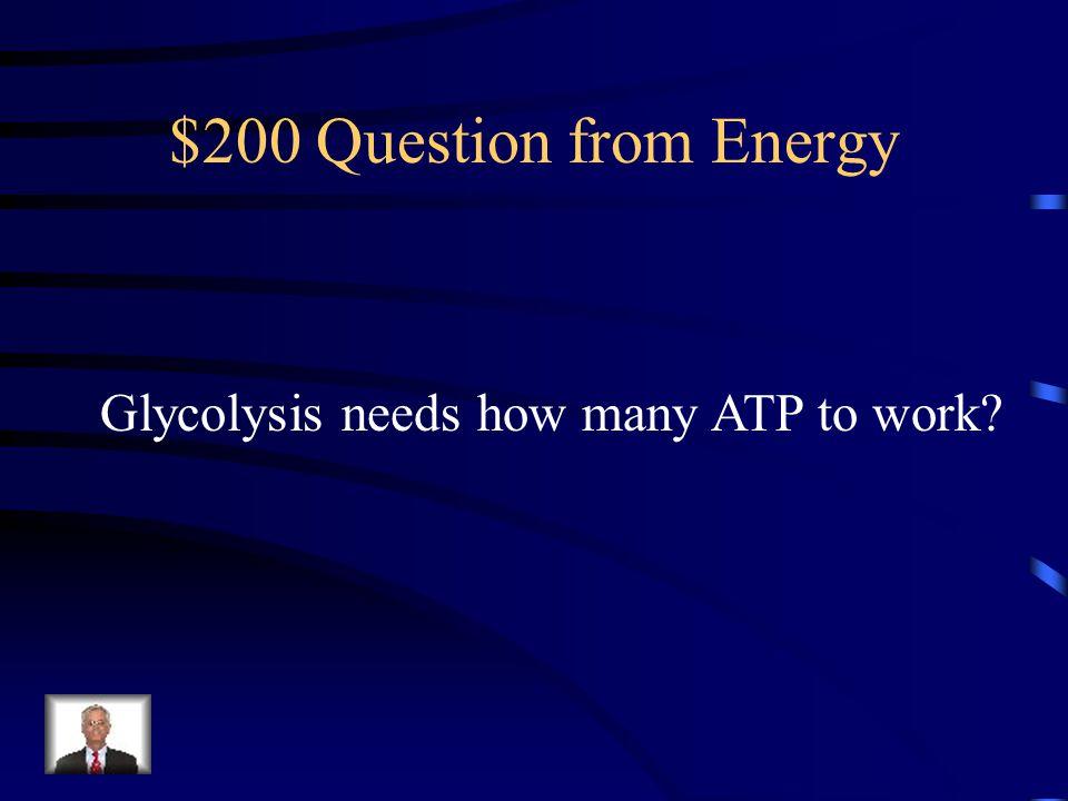 $100 Answer from Energy Adenosine Triphosphate ATP