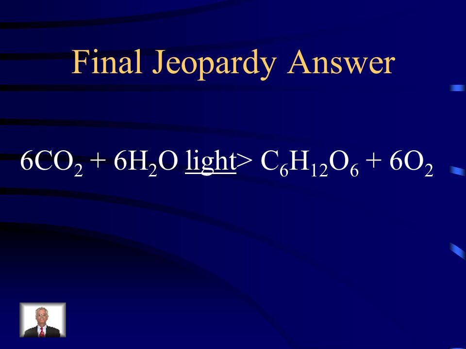 Final Jeopardy What is the overall reaction for photosynthesis?