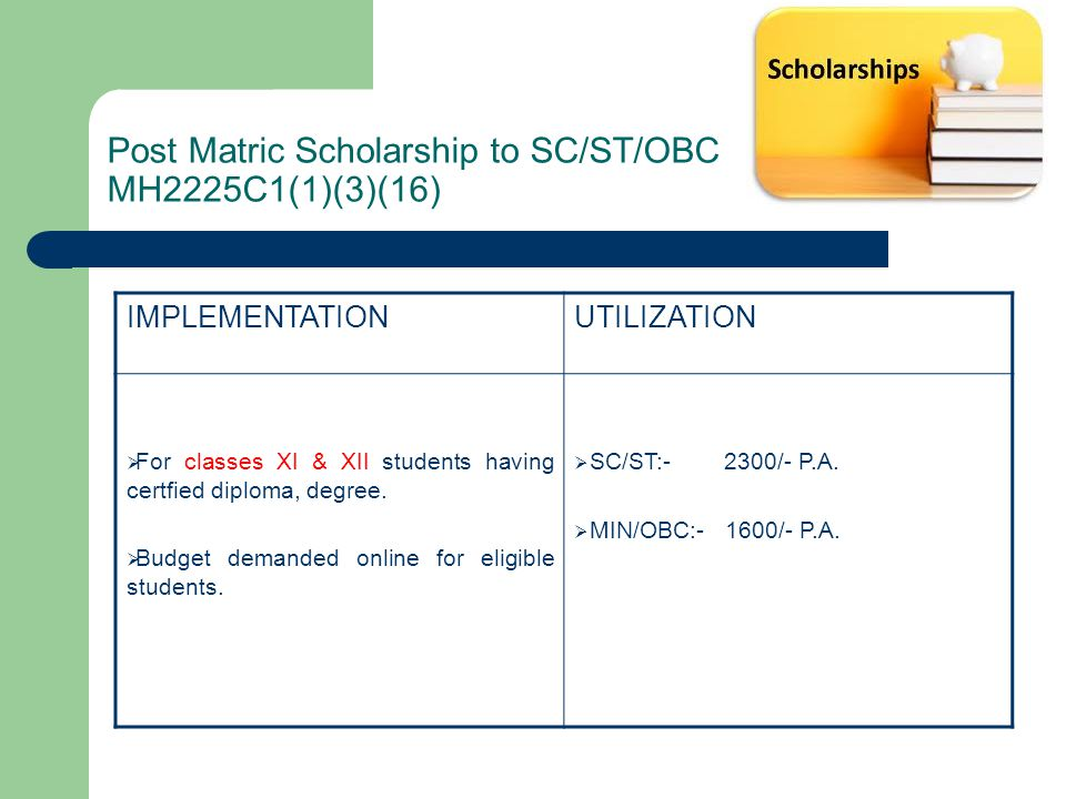 Post Matric Scholarship to SC/ST/OBC MH2225C1(1)(3)(16) IMPLEMENTATIONUTILIZATION  For classes XI & XII students having certfied diploma, degree.  B