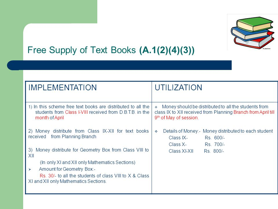 Free Supply of Text Books (A.1(2)(4)(3)) IMPLEMENTATIONUTILIZATION 1) In this scheme free text books are distributed to all the students from Class I-