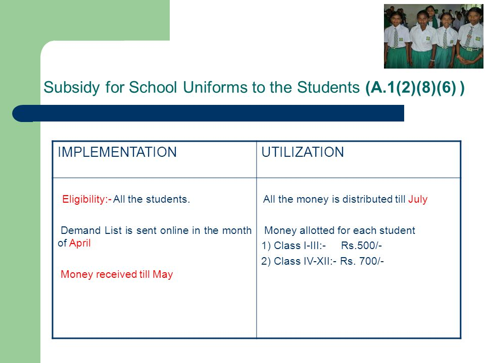 Subsidy for School Uniforms to the Students (A.1(2)(8)(6) ) IMPLEMENTATIONUTILIZATION Eligibility:- All the students. Demand List is sent online in th