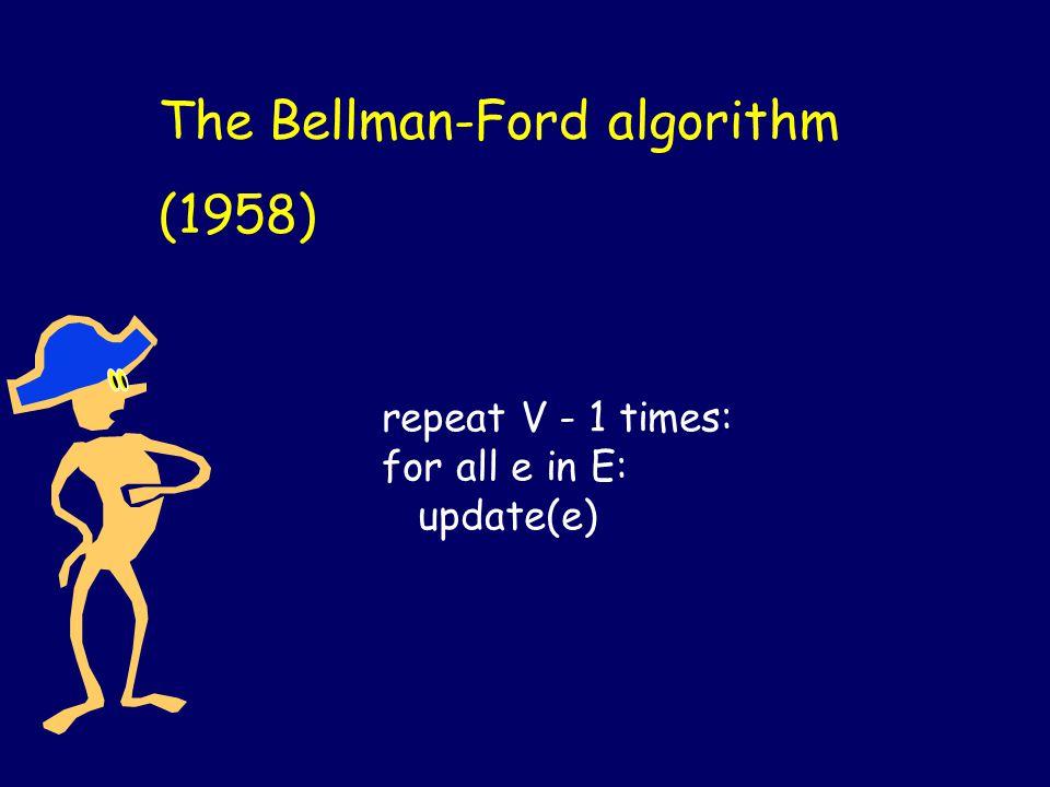 The Bellman-Ford algorithm (1958) repeat V - 1 times: for all e in E: update(e)