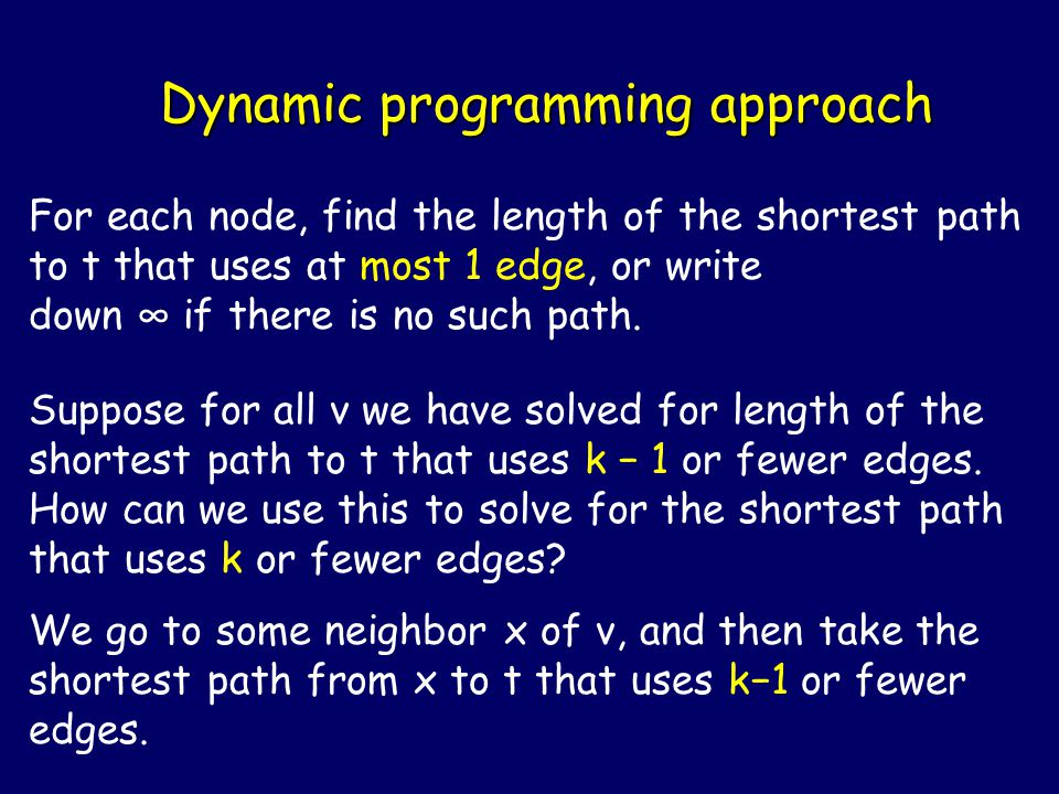 Dynamic programming approach For each node, find the length of the shortest path to t that uses at most 1 edge, or write down ∞ if there is no such path.