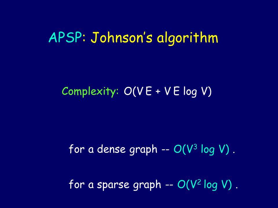 APSP: Johnson's algorithm Complexity: O(V E + V E log V) for a dense graph -- O(V 3 log V). for a sparse graph -- O(V 2 log V).