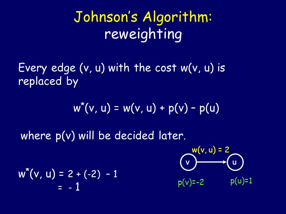 Johnson's Algorithm: reweighting Every edge (v, u) with the cost w(v, u) is replaced by w * (v, u) = w(v, u) + p(v) – p(u) where p(v) will be decided
