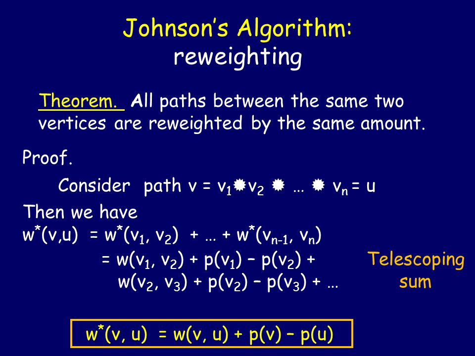 Johnson's Algorithm: reweighting Theorem. All paths between the same two vertices are reweighted by the same amount. Proof. Consider path v = v 1  v