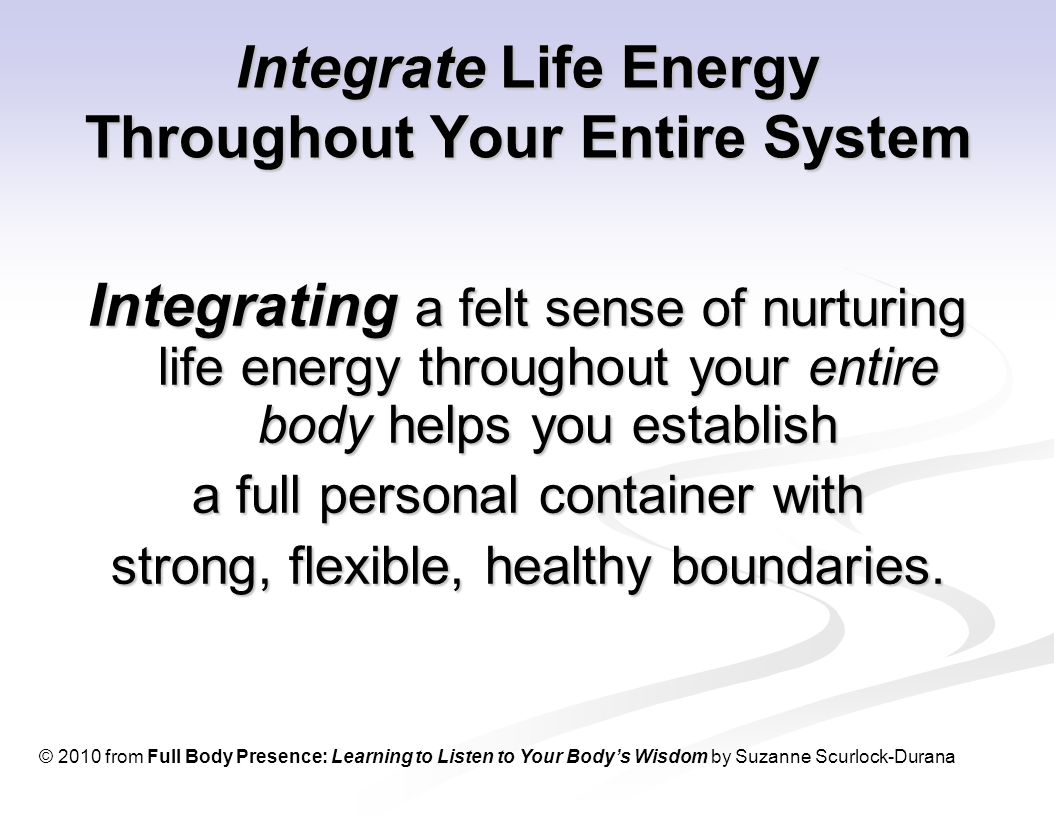 Integrate Life Energy Throughout Your Entire System Integrating a felt sense of nurturing life energy throughout your entire body helps you establish a full personal container with strong, flexible, healthy boundaries.