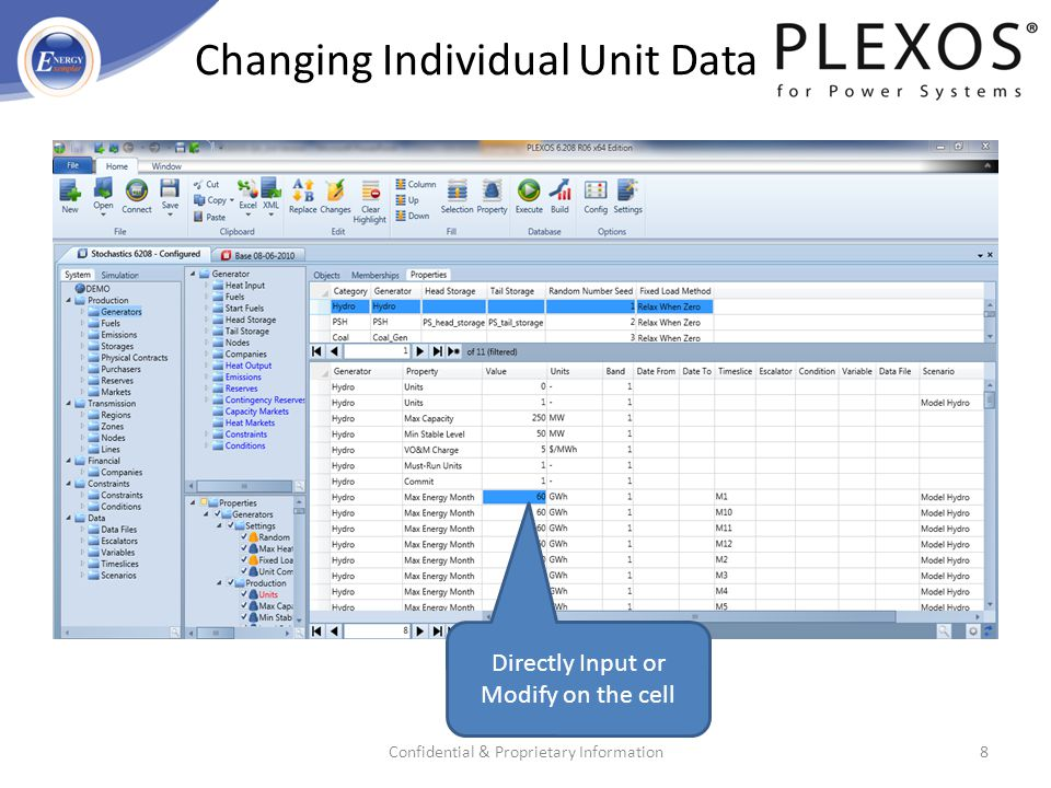 Changing Individual Unit Data Confidential & Proprietary Information8 Directly Input or Modify on the cell