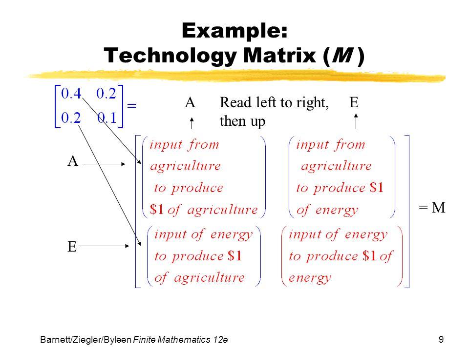 10 Barnett/Ziegler/Byleen Finite Mathematics 12e Example: Solving the Matrix Equations We can solve this matrix equation as follows: X = MX+D X – MX = D IX – MX = D (I – M)X = D if the inverse of (I – M) exists.