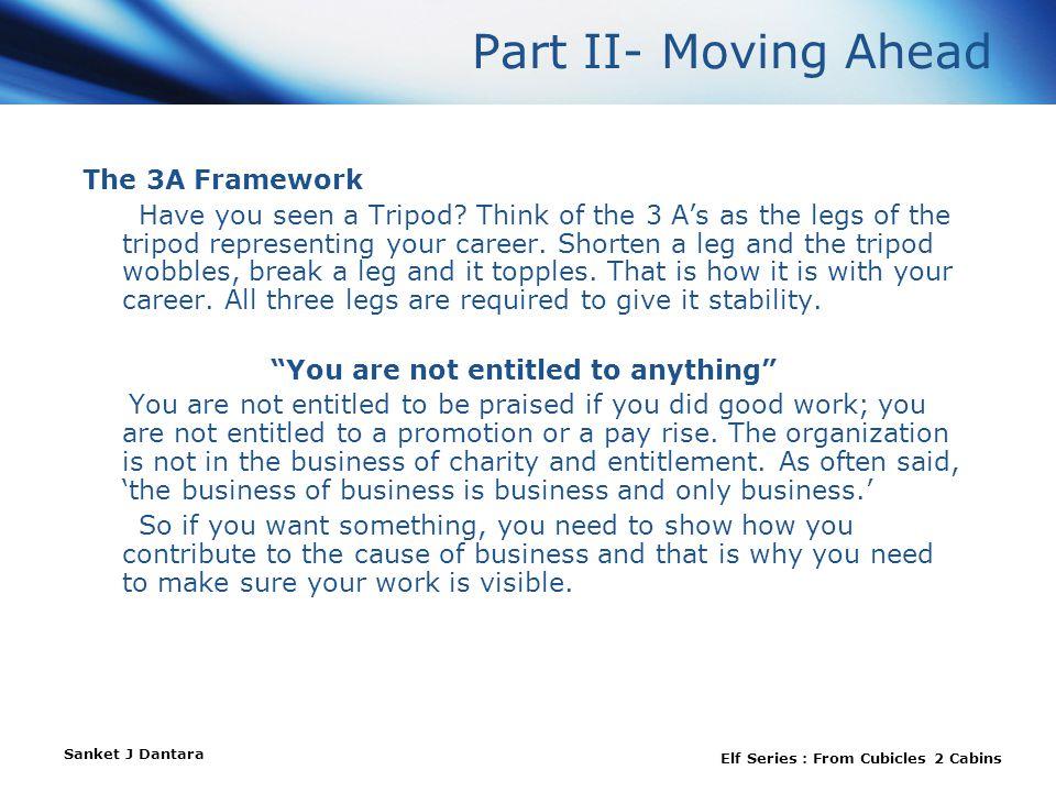 Sanket J Dantara Elf Series : From Cubicles 2 Cabins Part II- Moving Ahead The 3A Framework Have you seen a Tripod.