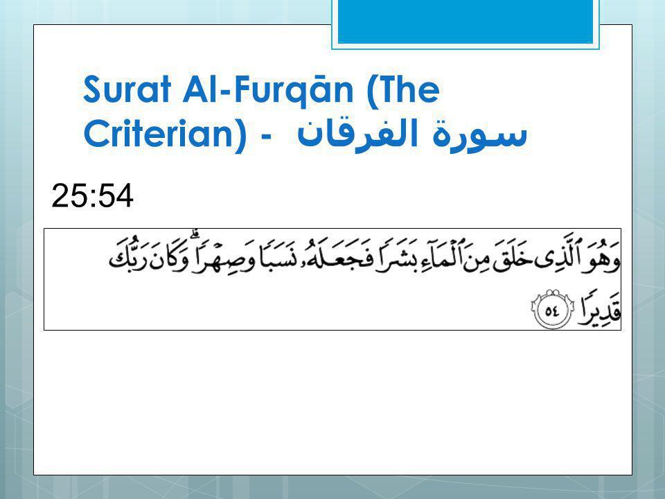Surat Al-Furqān (The Criterian) - سورة الفرقان 25:54