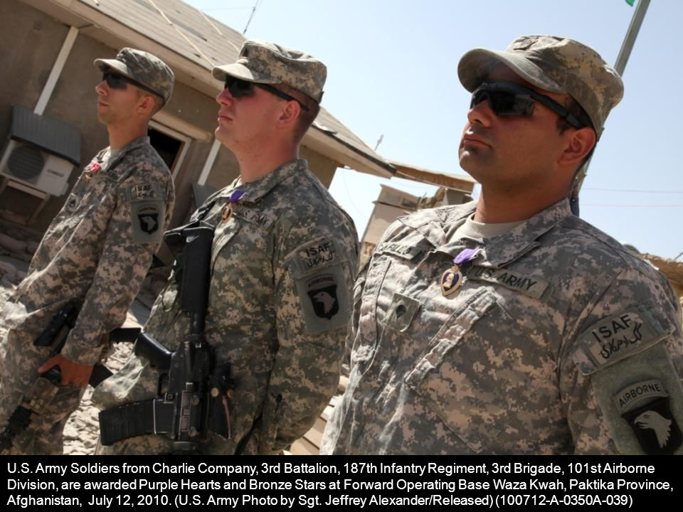 U.S. Army Soldiers from Charlie Company, 3rd Battalion, 187th Infantry Regiment, 3rd Brigade, 101st Airborne Division, are awarded Purple Hearts and B