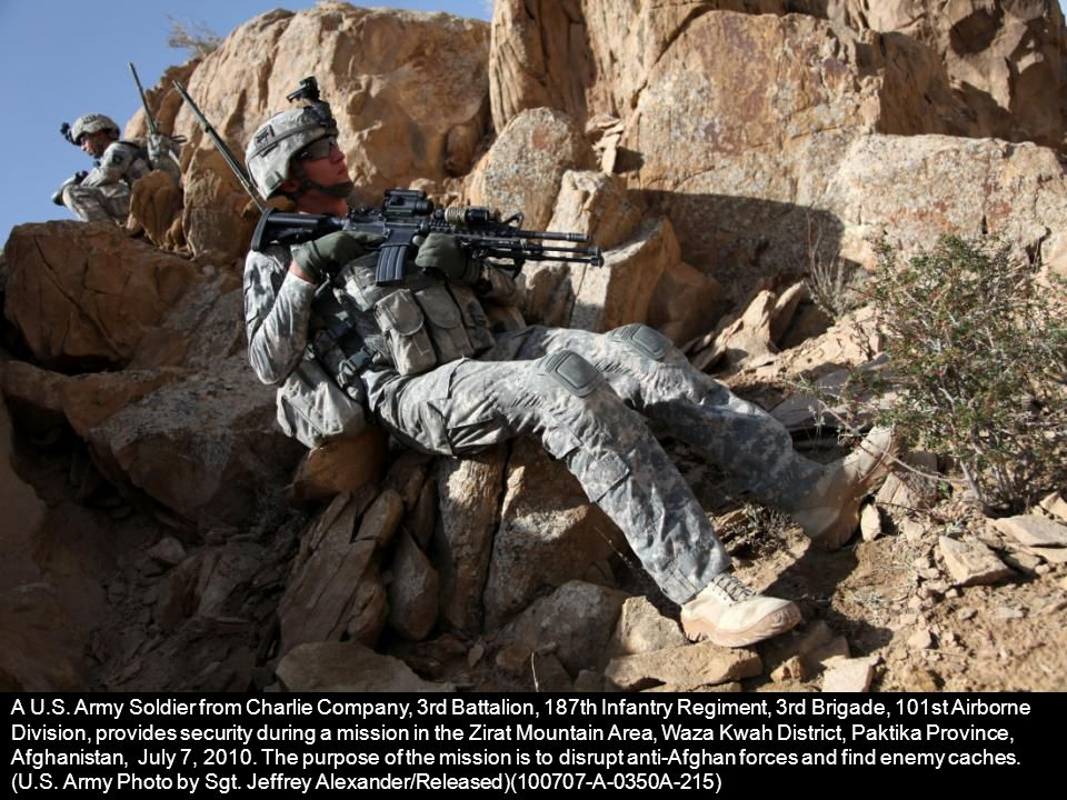 A U.S. Army Soldier from Charlie Company, 3rd Battalion, 187th Infantry Regiment, 3rd Brigade, 101st Airborne Division, provides security during a mis