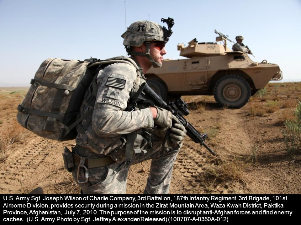 U.S. Army Sgt. Joseph Wilson of Charlie Company, 3rd Battalion, 187th Infantry Regiment, 3rd Brigade, 101st Airborne Division, provides security durin