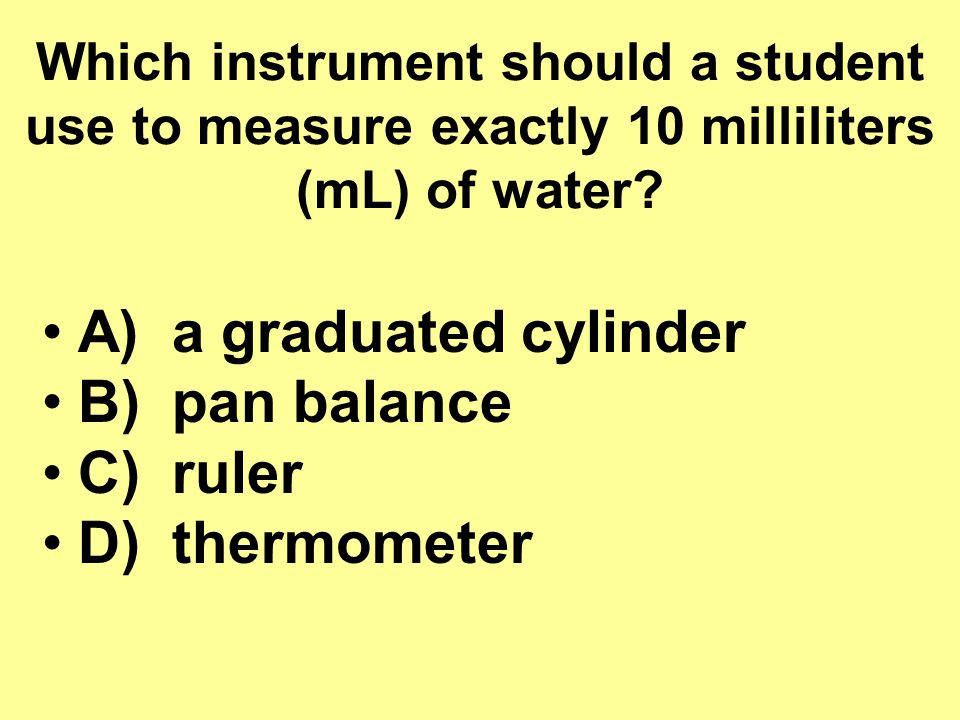 Which instrument should a student use to measure exactly 10 milliliters (mL) of water.