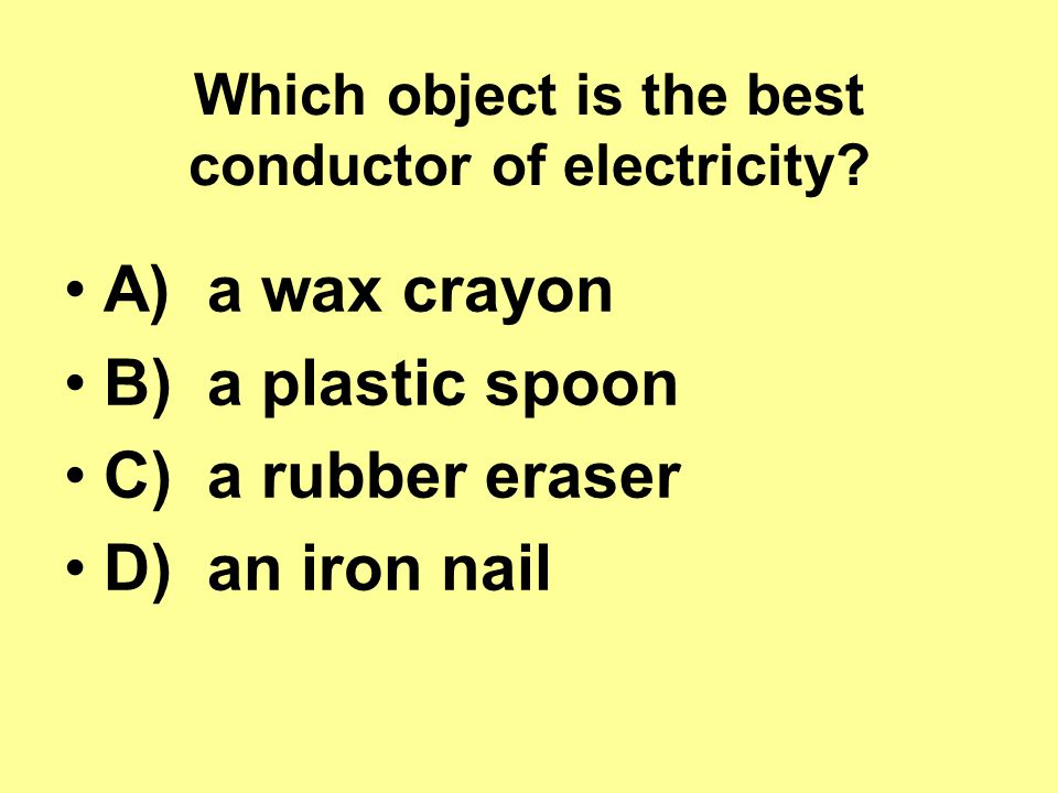 Which object is the best conductor of electricity.
