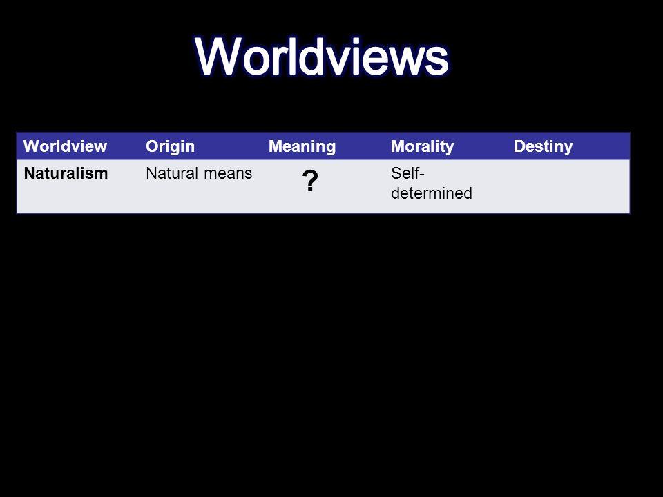 WorldviewOriginMeaningMoralityDestiny NaturalismNatural means Self- determined