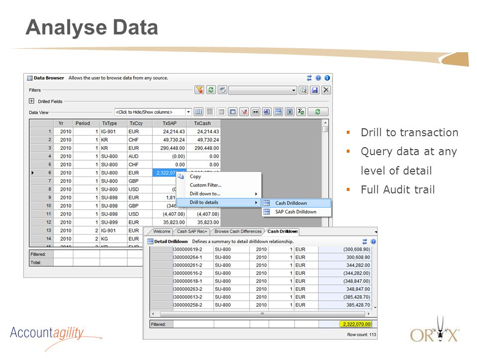Analyse Data  Drill to transaction  Query data at any level of detail  Full Audit trail